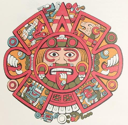 The four suns center of the aztec calendar